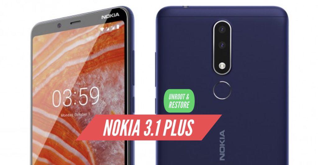 Unroot Nokia 3.1 Plus Restore Stock ROM